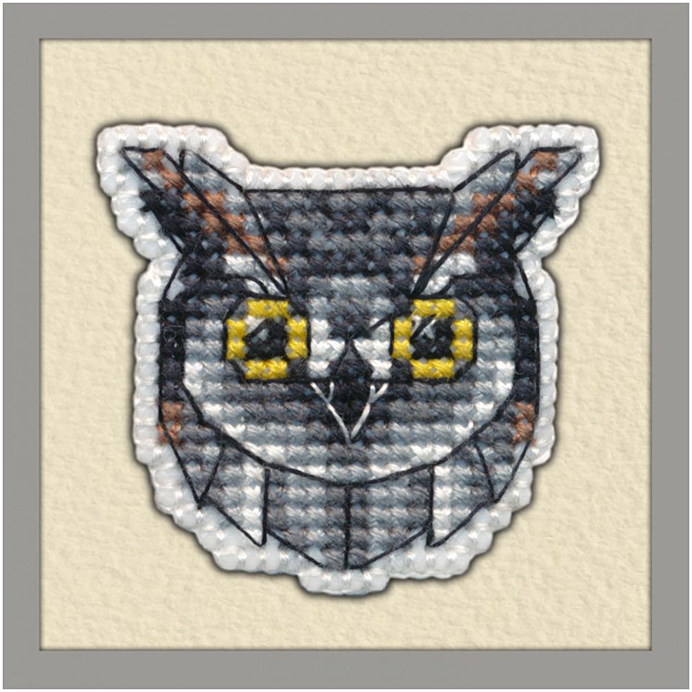 Набор для вышивания значка Овен Сова на пластиковой основе, 4,4 х 4,5 см набор для вышивания магнита овен анапа на пластиковой основе 13 х 7 см