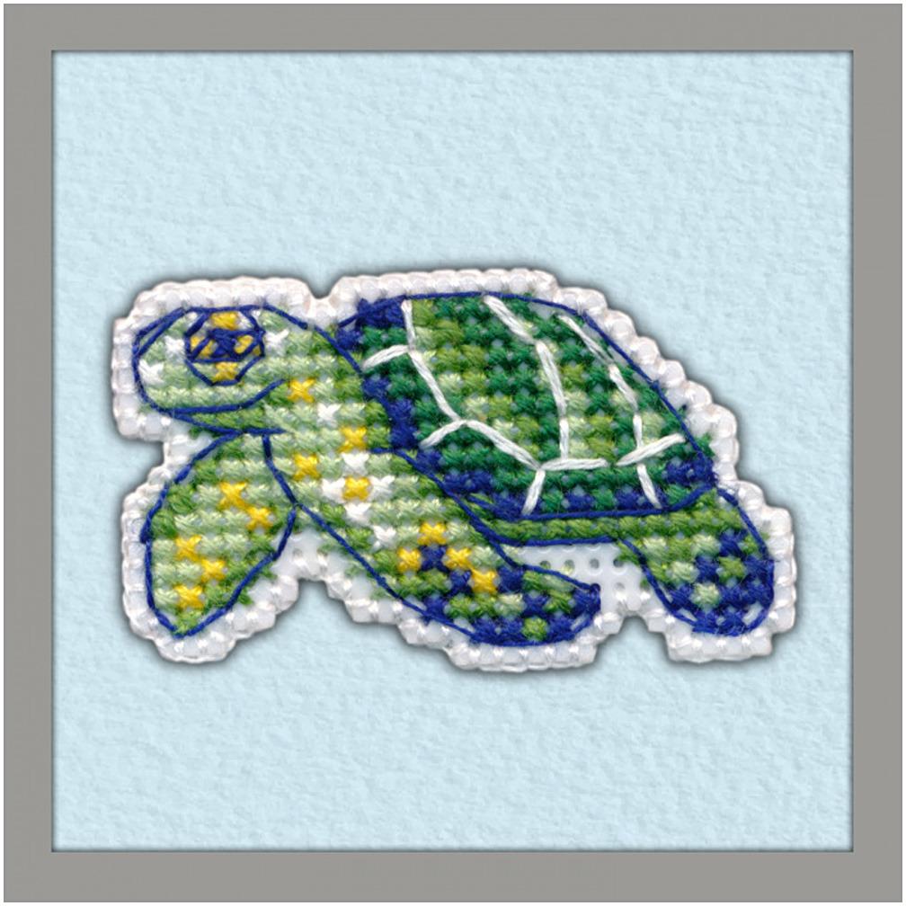 Набор для вышивания значка Овен Черепаха на пластиковой основе, 4,4 х 4,5 см набор для вышивания магнита овен анапа на пластиковой основе 13 х 7 см