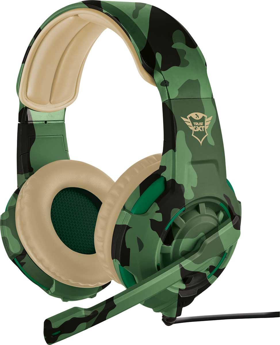 Игровые наушники Trust GXT 310C, цвет: бежевый, зеленый
