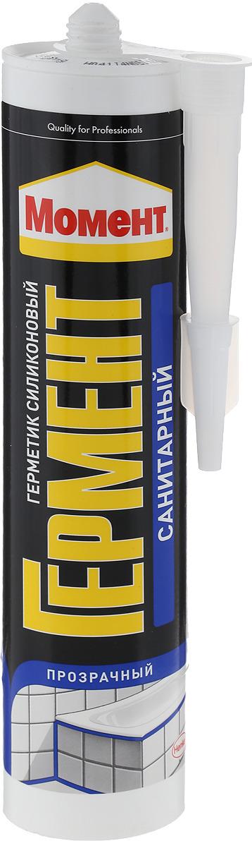 Герметик силиконовый Момент Гермент, санитарный, цвет: прозрачный, 280 мл герметик силиконовый ремонт на 100% универсальный цвет прозрачный 260 мл