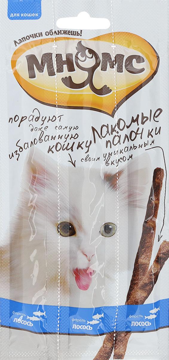 Лакомые палочки для кошек Мнямс, с лососем и форелью, 3х5 г
