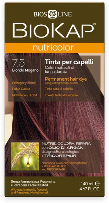 Краска для волос BioKap, тон 7.5 Махагон (коричневато-красный), 140 мл