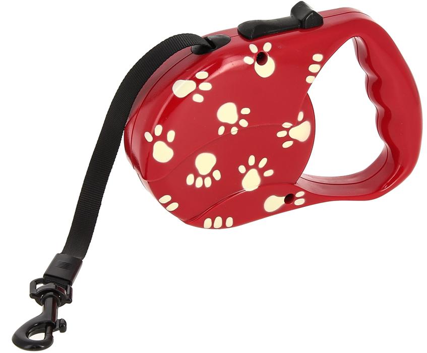 """Поводок-рулетка Каскад """"Лапки"""", для собак массой до 20 кг, длина 3 м"""