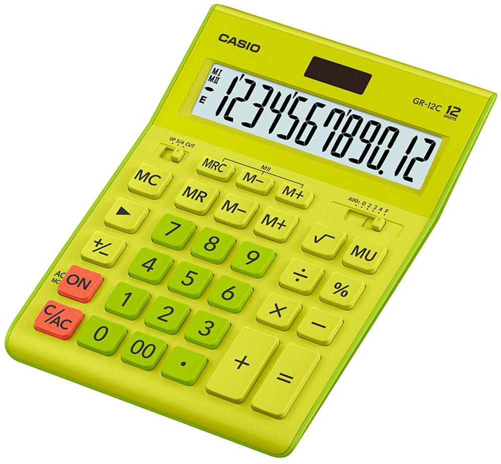 Калькулятор настольный Casio GR-12C-GN цвет салатовый ноутбук в режиме калькулятора