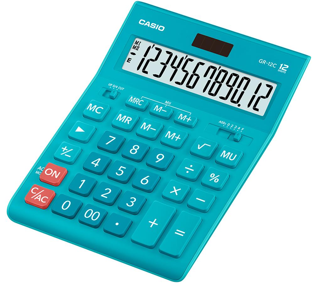 Калькулятор настольный Casio GR-12C-LB цвет голубой калькулятор настольный casio gr 12c lb голубой 12 разр