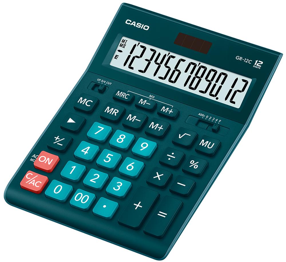 Калькулятор настольный Casio GR-12C-DG цвет темно-зеленый калькулятор настольный casio gr 12c lb голубой 12 разр