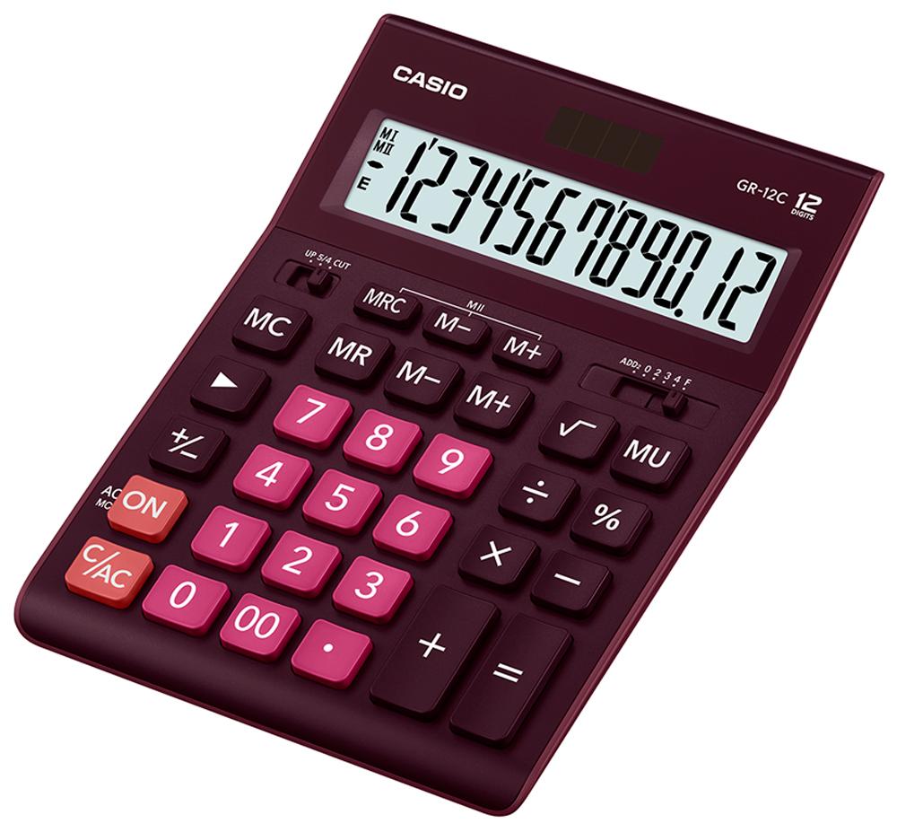 Калькулятор настольный Casio GR-12C-WR цвет бордовый калькулятор настольный casio gr 12c lb голубой 12 разр