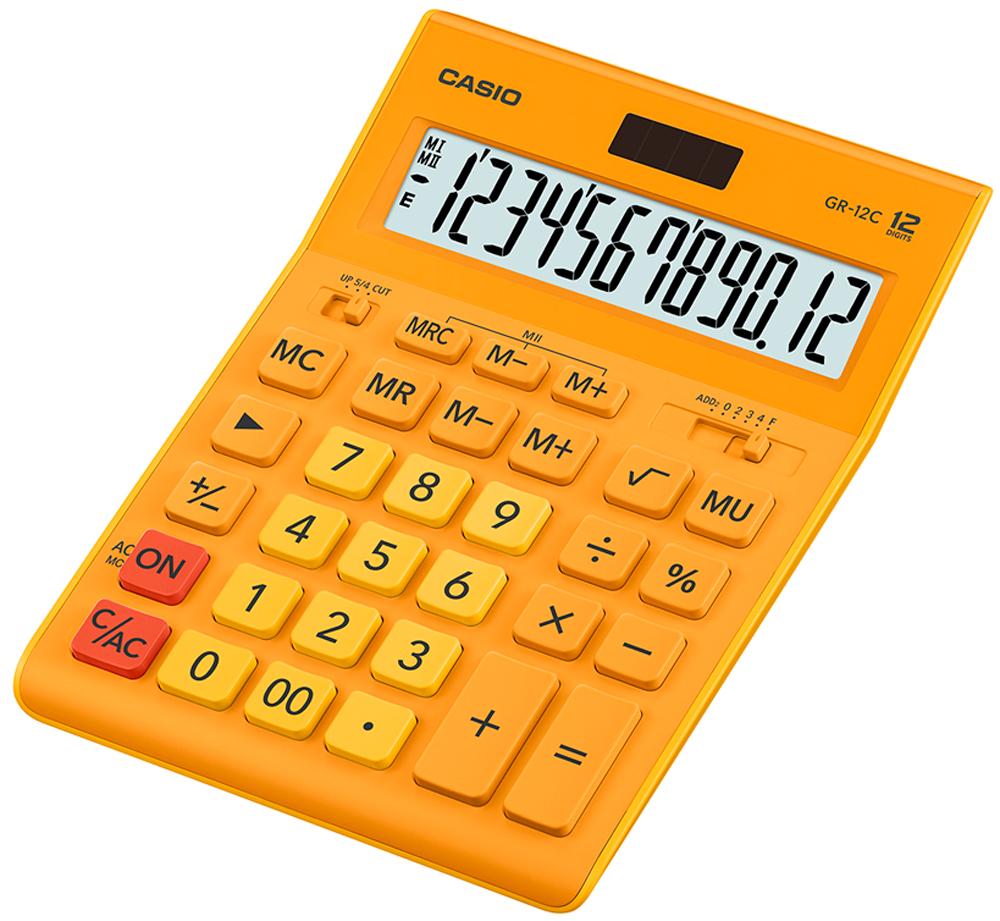 Калькулятор настольный Casio GR-12C-RG цвет оранжевый калькулятор настольный casio gr 12c lb голубой 12 разр