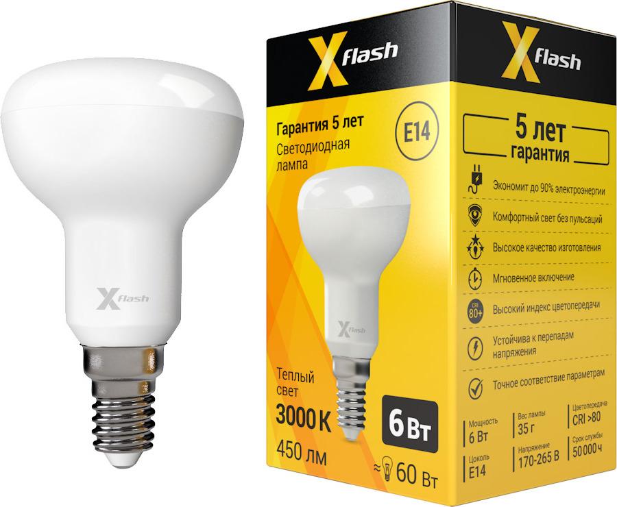Лампа светодиодная X-Flash XF-E14-R50-6W-3000K-230V x flash лампа led x flash xf e14 fl сa35 4w 2700k 230v арт 48823