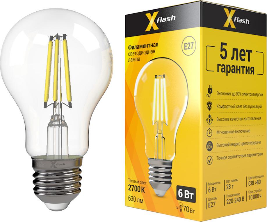 Лампа светодиодная X-Flash XF-E27-FL-A60-6W-2700K-230V