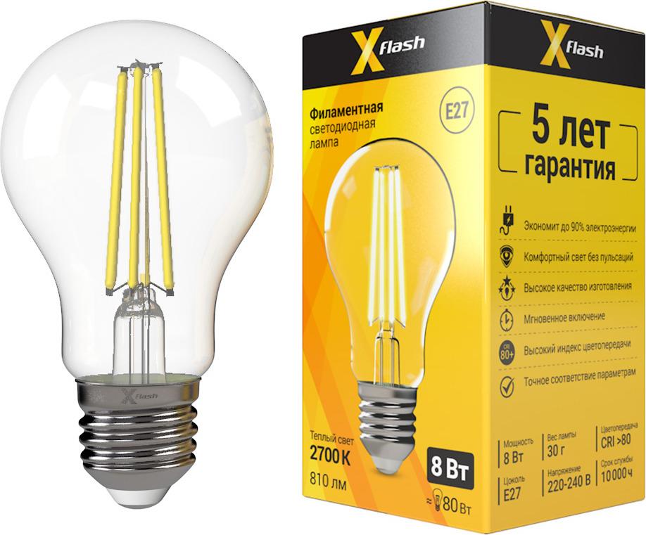 Лампа светодиодная X-Flash XF-E27-FL-A60-8W-2700K-230V x flash лампа led x flash xf e14 fl сa35 4w 2700k 230v арт 48823