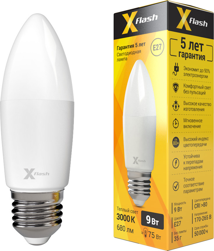 Лампа светодиодная X-Flash XF-E27-C37-9W-3000K-230V