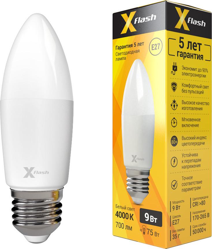Лампа светодиодная X-Flash XF-E27-C37-9W-4000K-230V цена