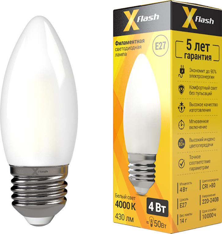 Лампа светодиодная X-Flash XF-E27-FLM-С35-4W-4000K-230V x flash лампа led x flash xf e14 fl сa35 4w 2700k 230v арт 48823