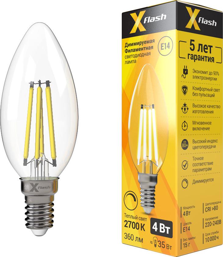 Лампа светодиодная диммируемая X-Flash XF-E14-FLD-C35-4W-2700K-230V