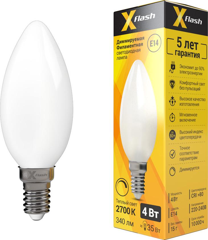 Лампа светодиодная диммируемая X-Flash XF-E14-FLMD-C35-4W-2700K-230V филаментная светодиодная лампа x flash xf e14 flmd c35 4w 2700k 230v арт 48700