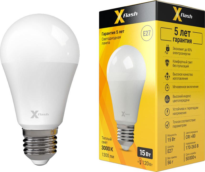 Лампа светодиодная X-Flash XF-E27-A60-15W-3000K-230V