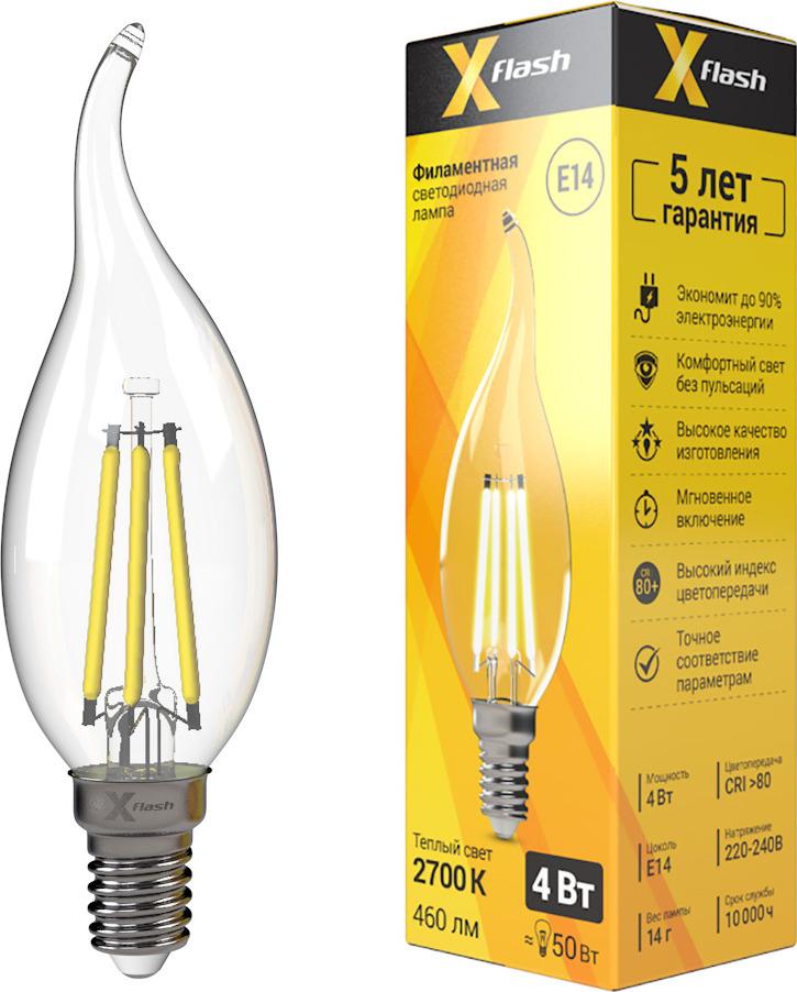 Лампа светодиодная X-Flash XF-E14-FL-СA35-4W-2700K-230V