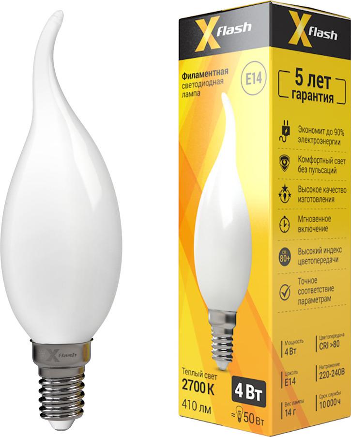 Лампа светодиодная X-Flash XF-E14-FLM-СA35-4W-2700K-230V