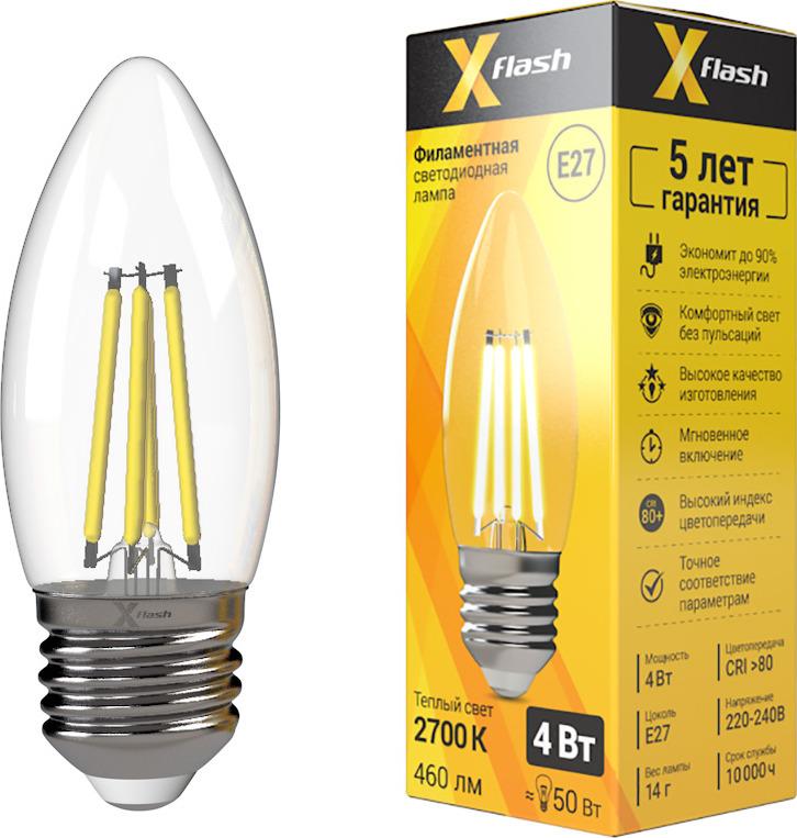 Лампа светодиодная X-Flash XF-E27-FL-С35-4W-2700K-230V