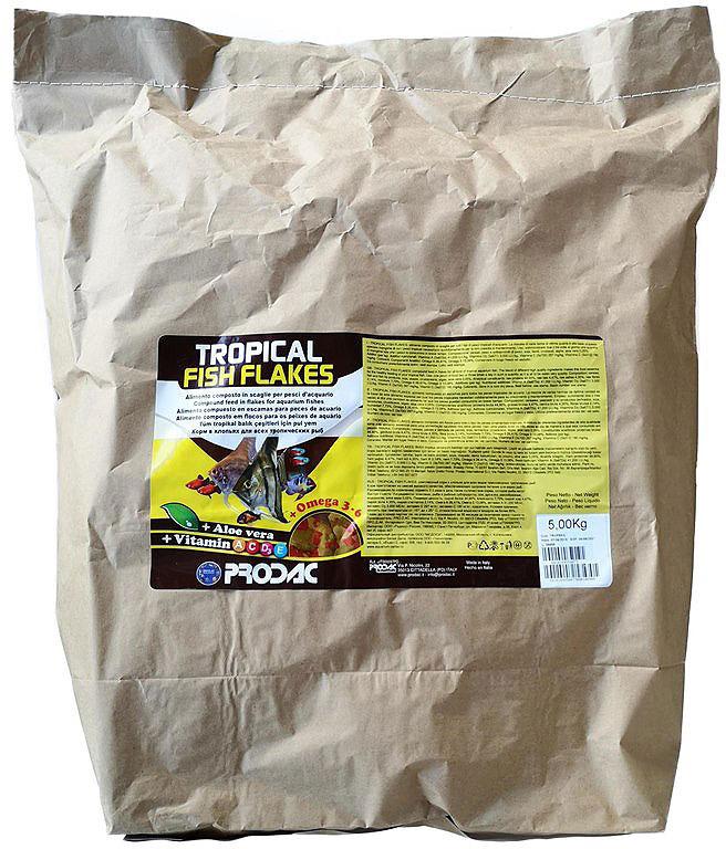 Корм сухой Prodac Tropical Fish Flakes, для аквариумных пресноводных рыб, в виде хлопьев, 5 кг корм сухой prodac goldfish premium для аквариумных пресноводных рыб в виде хлопьев 200 г