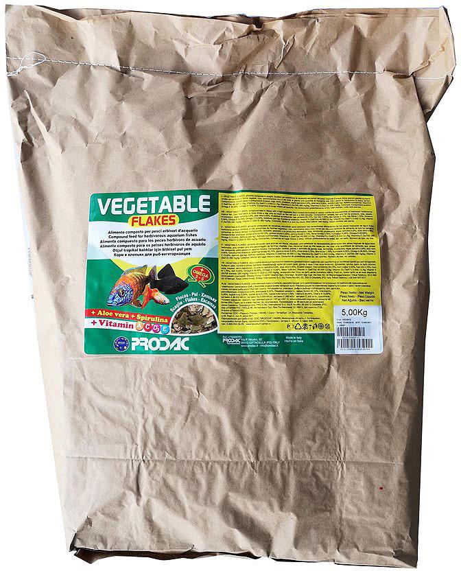 Корм сухой Prodac Vegetable Flakes, для аквариумных пресноводных рыб, в виде хлопьев, 5 кг корм сухой prodac goldfish premium для аквариумных пресноводных рыб в виде хлопьев 200 г