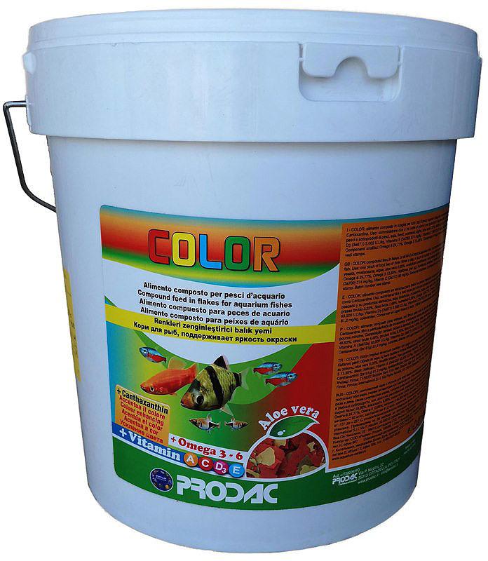 Корм сухой Prodac Color, для аквариумных пресноводных рыб, в виде хлопьев, 2 кг корм сухой prodac goldfish premium для аквариумных пресноводных рыб в виде хлопьев 200 г