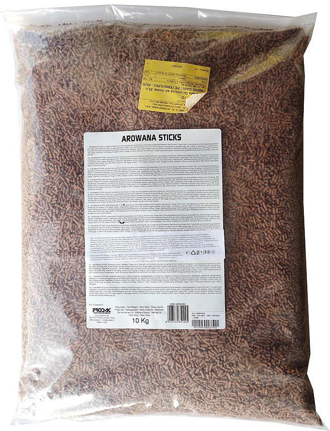 Корм сухой Prodac Arowana Sticks, для пресноводных рыб, в палочках, 10 кг корм для рыб tetra рэд паррот для красных попугаев в шариках 1000мл