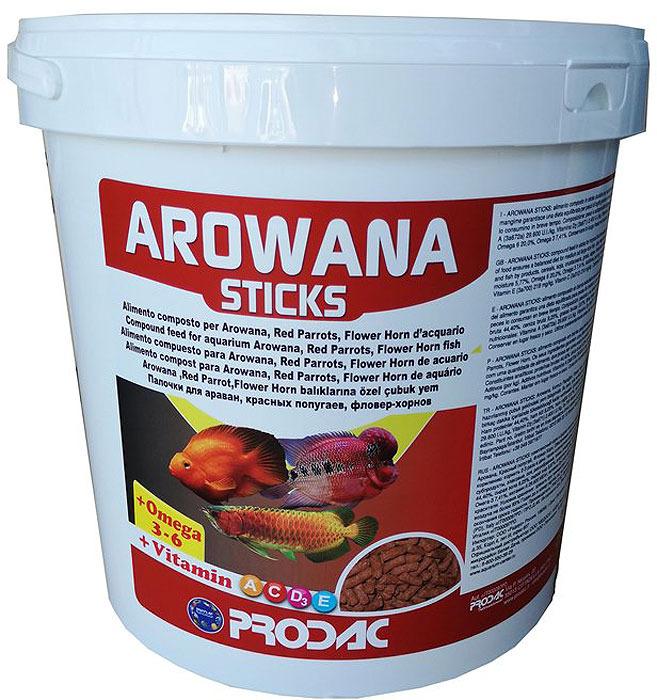 Корм сухой Prodac Arowana Sticks, для пресноводных рыб, в палочках, 4,5 кг корм для рыб tetra рэд паррот для красных попугаев в шариках 1000мл