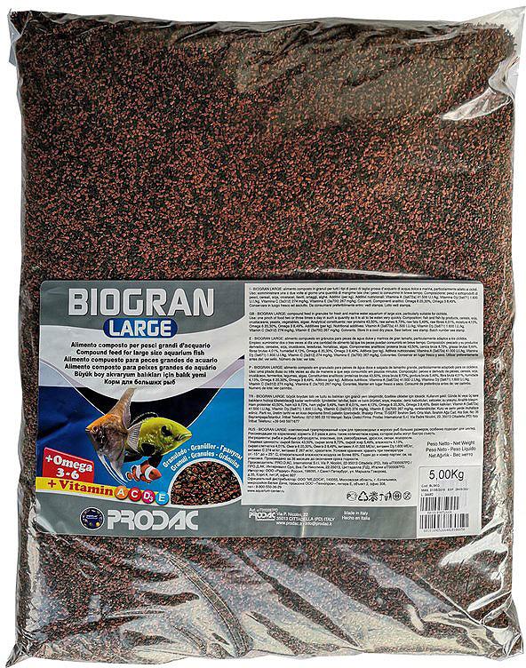 Корм сухой Prodac Biogran Large, универсальный, для рыб больших размеров, в гранулах, 5 кг