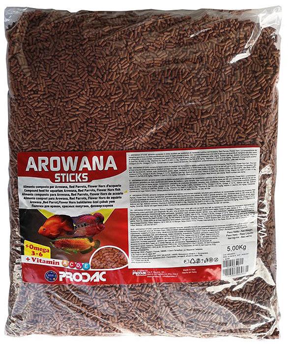 Корм сухой Prodac Arowana Sticks, для пресноводных рыб, в палочках, 5 кг корм для рыб tetra рэд паррот для красных попугаев в шариках 1000мл