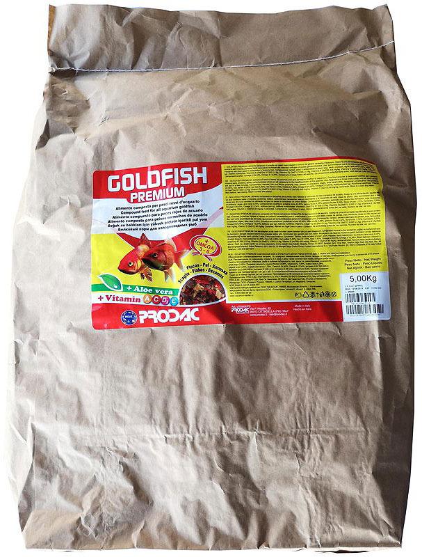 Корм сухой Prodac Goldfish Premium, для аквариумных пресноводных рыб, в виде хлопьев, 5 кг корм сухой prodac goldfish premium для аквариумных пресноводных рыб в виде хлопьев 200 г