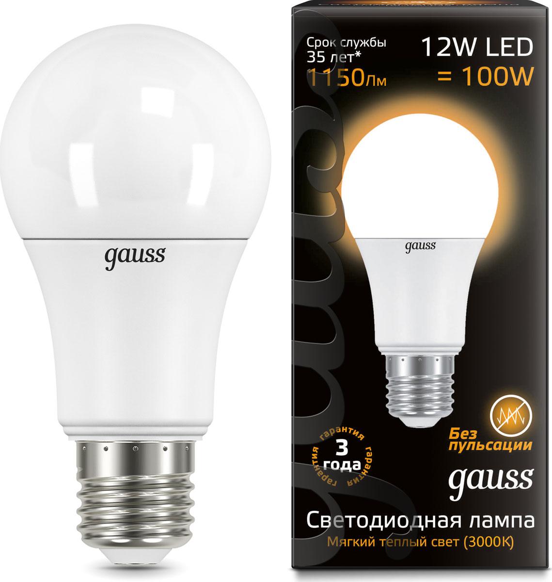 """Лампа светодиодная Gauss """"LED"""", A60, globe, 12W, E27, 3000K, 1/10/50"""