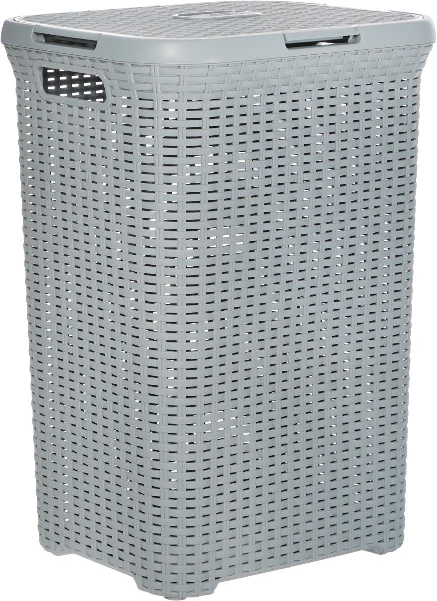 Корзина для белья Curver Раттан, цвет: светло-серый, 60 л корзина для белья curver knit цвет серый 57 л