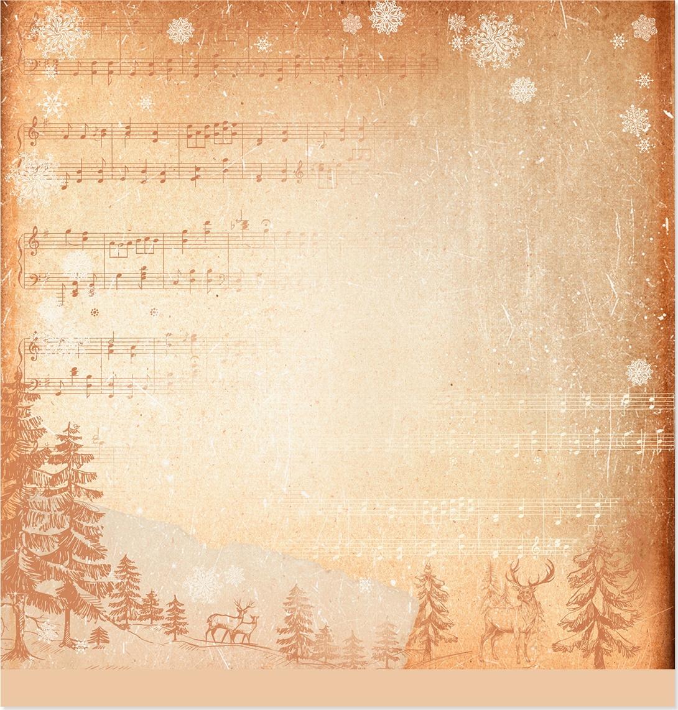 Днем рождения, фон ноты для открытки