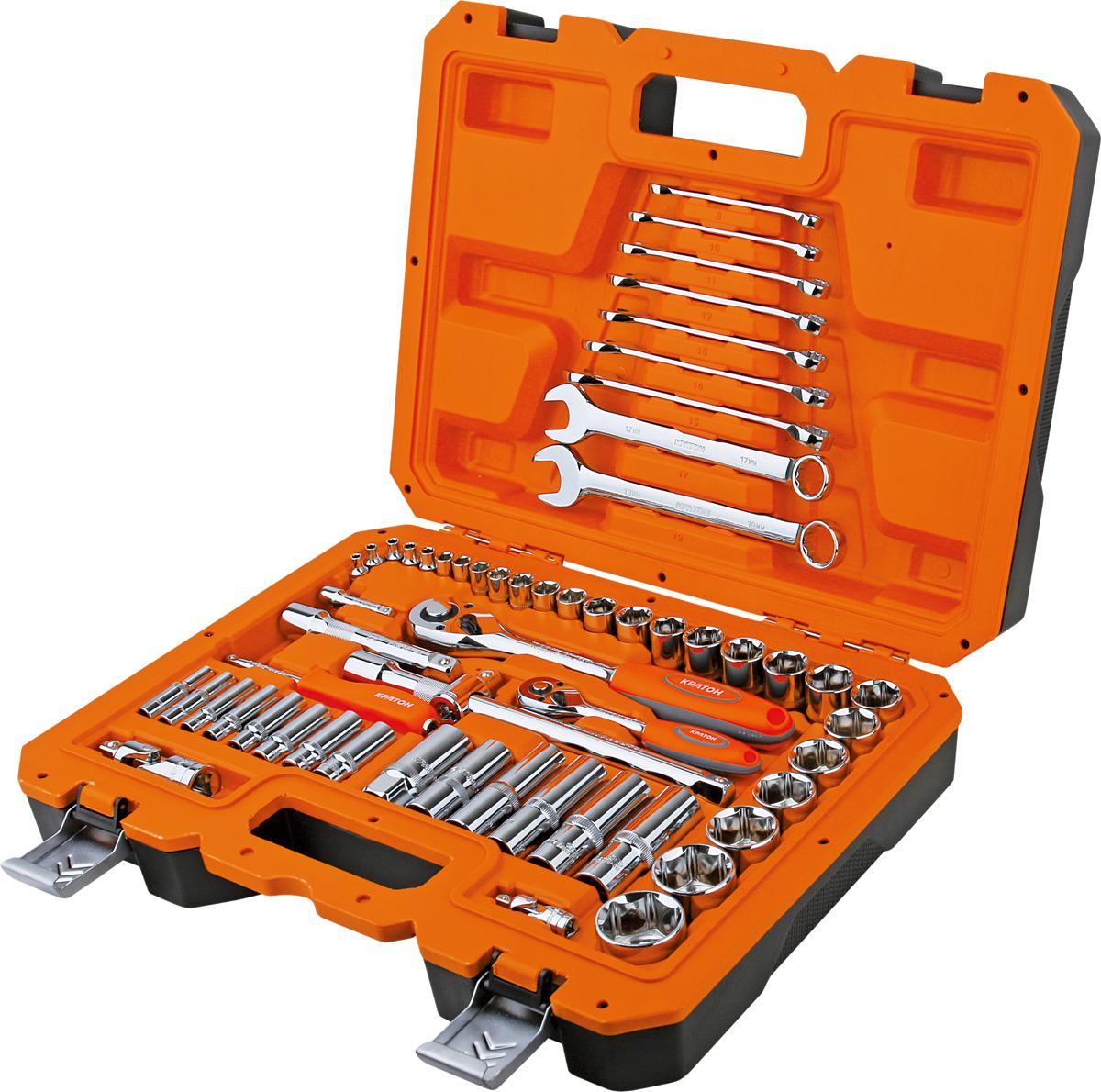 Набор инструментов Кратон TS-04 1/2+1/4, 58 предметов набор инструментов кратон ts 23 socket 150 1 4 3 8 1 2