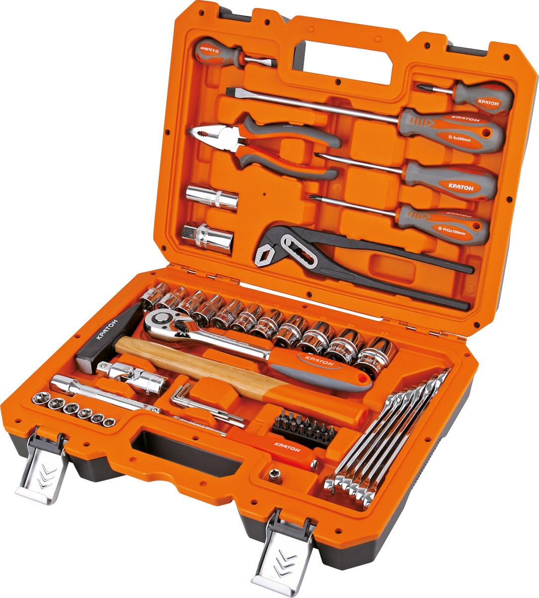 Набор инструментов Кратон TS-09 1/2+1/4, 58 предметов унив набор торцевых головок jonnesway 1 4dr 4 13 мм и 1 2dr 8 32 мм комбинированных ключей 6 32 мм и отверток 128 предметов