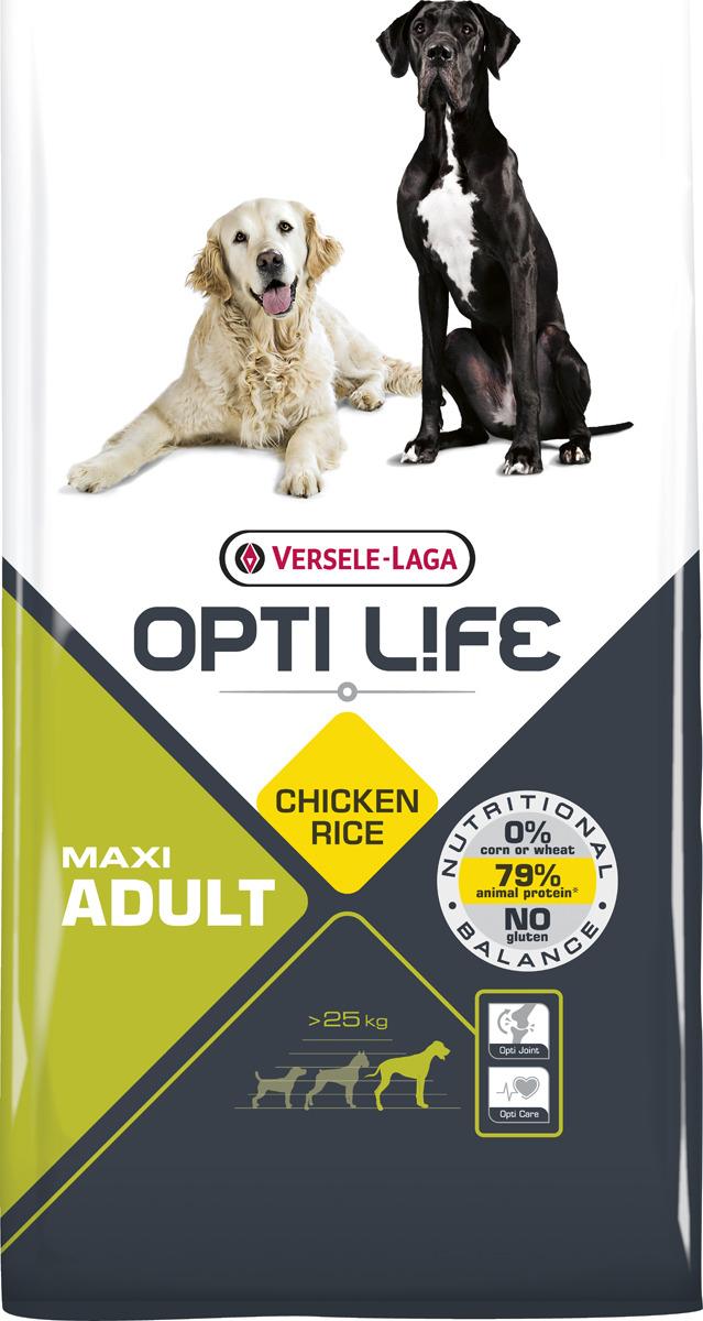 Корм сухой Versele-Laga Opti Life, для собак крупных пород, с курицей и рисом, 12,5 кг