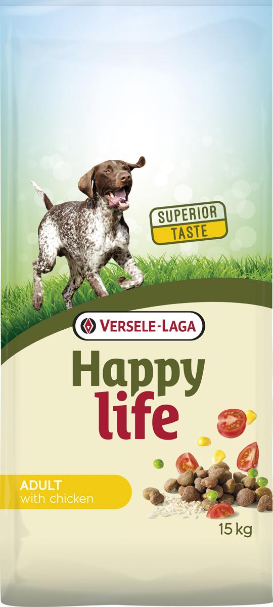 Корм сухой Versele-Laga Happy Life, для собак, с курицей и рисом, 15 кг