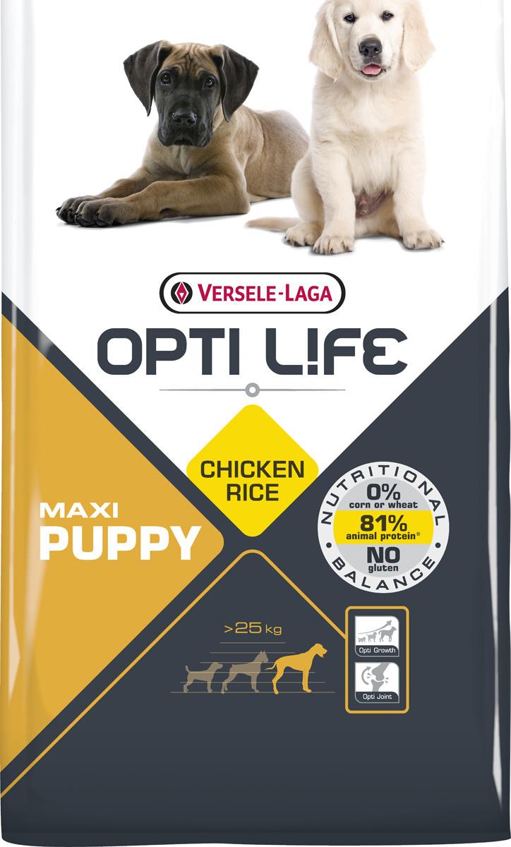 Корм сухой Versele-Laga Opti Life, для щенков крупных пород, с курицей, 1 кг крупы для кормления щенка