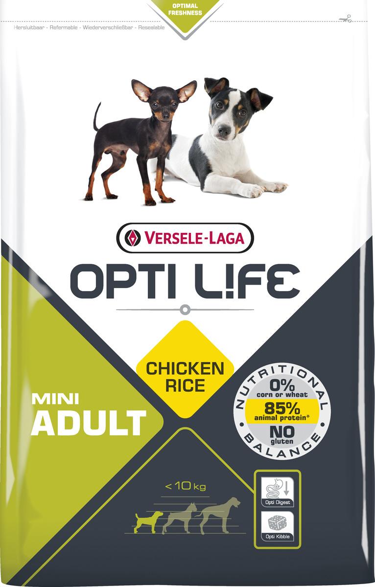 Корм сухой Versele-Laga Opti Life, для взрослых собак малых пород, с курицей и рисом, 1 кг