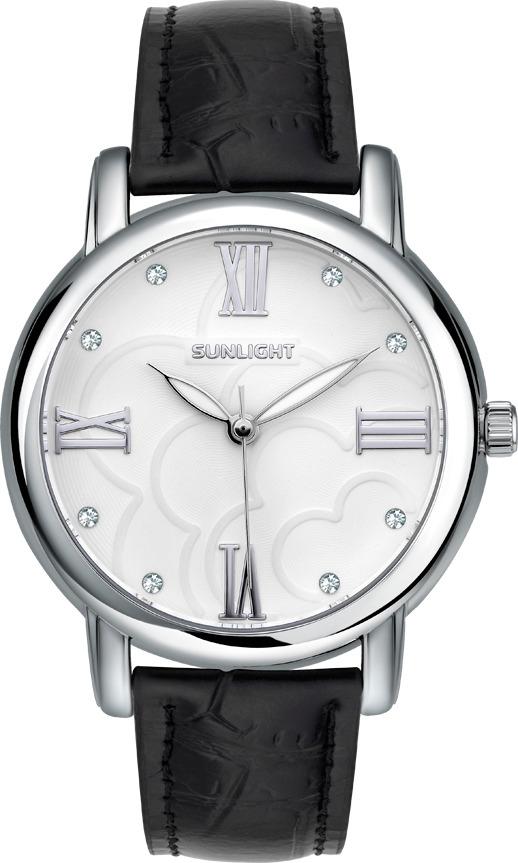 Часы наручные женские Sunlight, цвет: черный, серебристый. S345ASW-02LB все цены