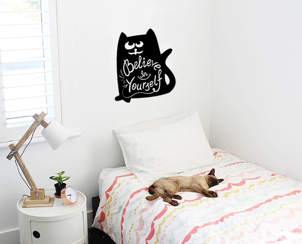 Наклейка Мел Посмел Мел Посмел Меловая наклейка для записей Кот, размер 27х34 см, K110, черный цена