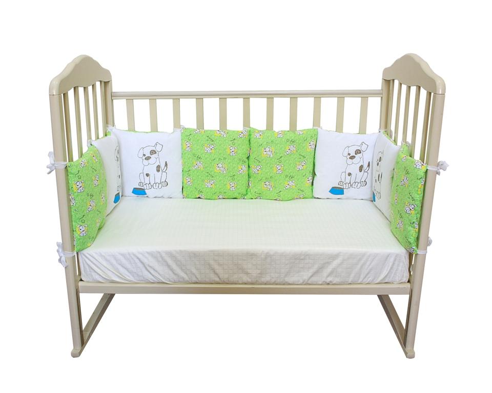 """Борт """"подушки"""" из 12 предметов, Soft Story, с принтом, цвет зеленый."""