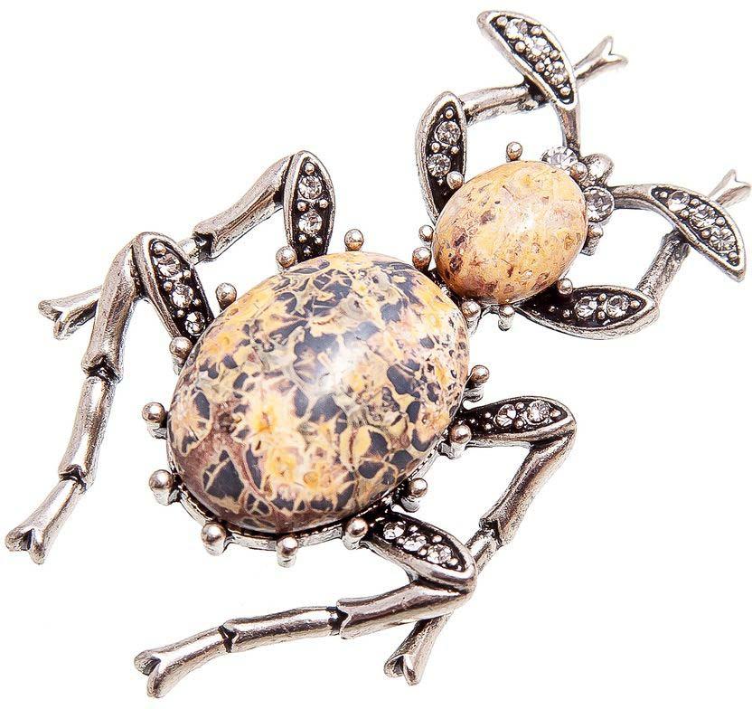 цена на Брошь женская Kameo-bis, цвет: серебряный, бежевый, коричневый. BCH808051