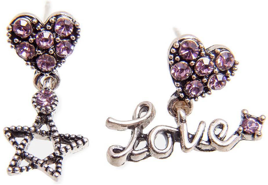 Серьги женские Kameo-bis, цвет: серебряный, розовый. ER808128 жен крупногабаритные прочее стразы серьги слезки секси крупногабаритные мода серебряный лиловый розовый волны серьги назначение