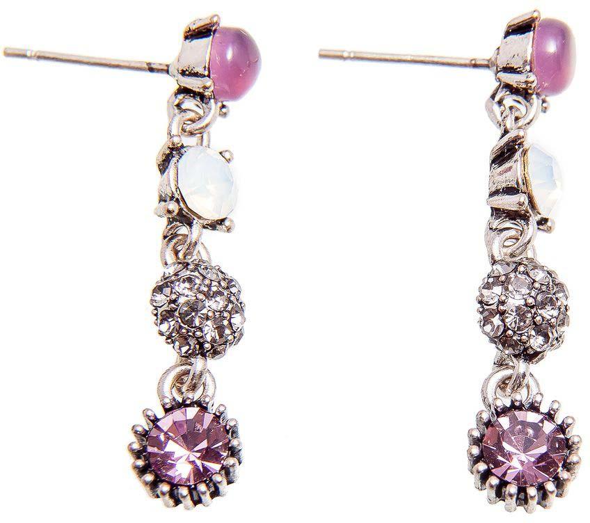 Серьги женские Kameo-bis, цвет: серебряный, белый, розовый. ER808134 жен крупногабаритные прочее стразы серьги слезки секси крупногабаритные мода серебряный лиловый розовый волны серьги назначение