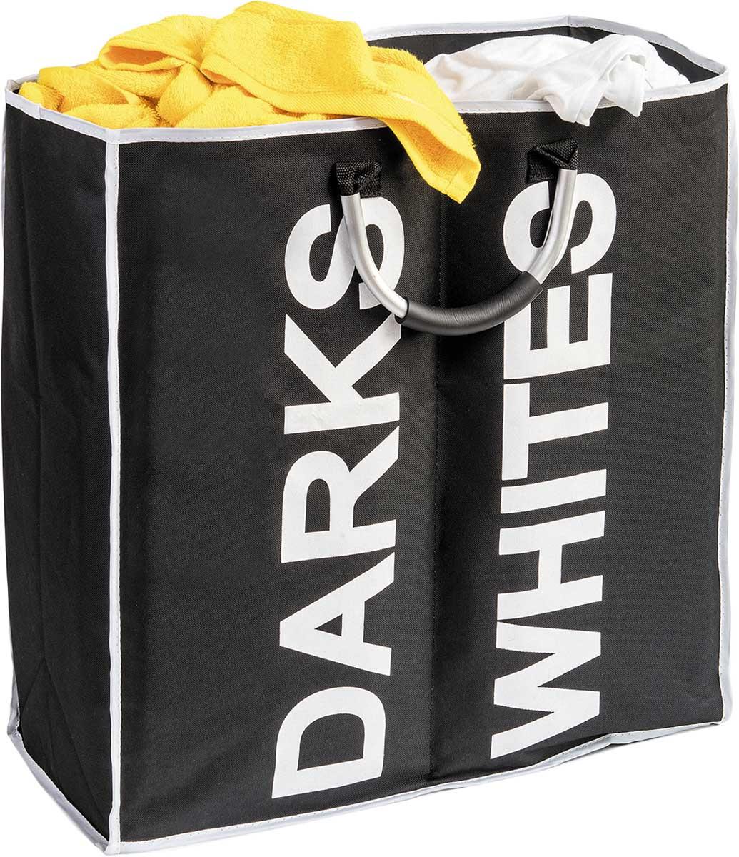 Корзина для белья Tatkraft Spase с разделителем, цвет: черный, белый, 53,5 х 52,5 х 22 см корзина подвесная tatkraft on двухуровневая 25 х 12 х 47 см