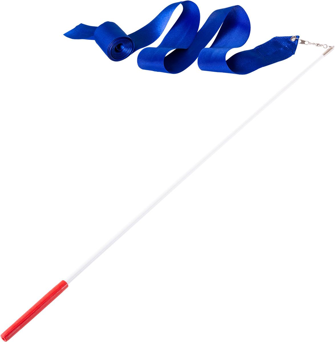 Лента для художественной гимнастики Amely AGR-201, длина 6 м, с палочкой 56 см, цвет: синий