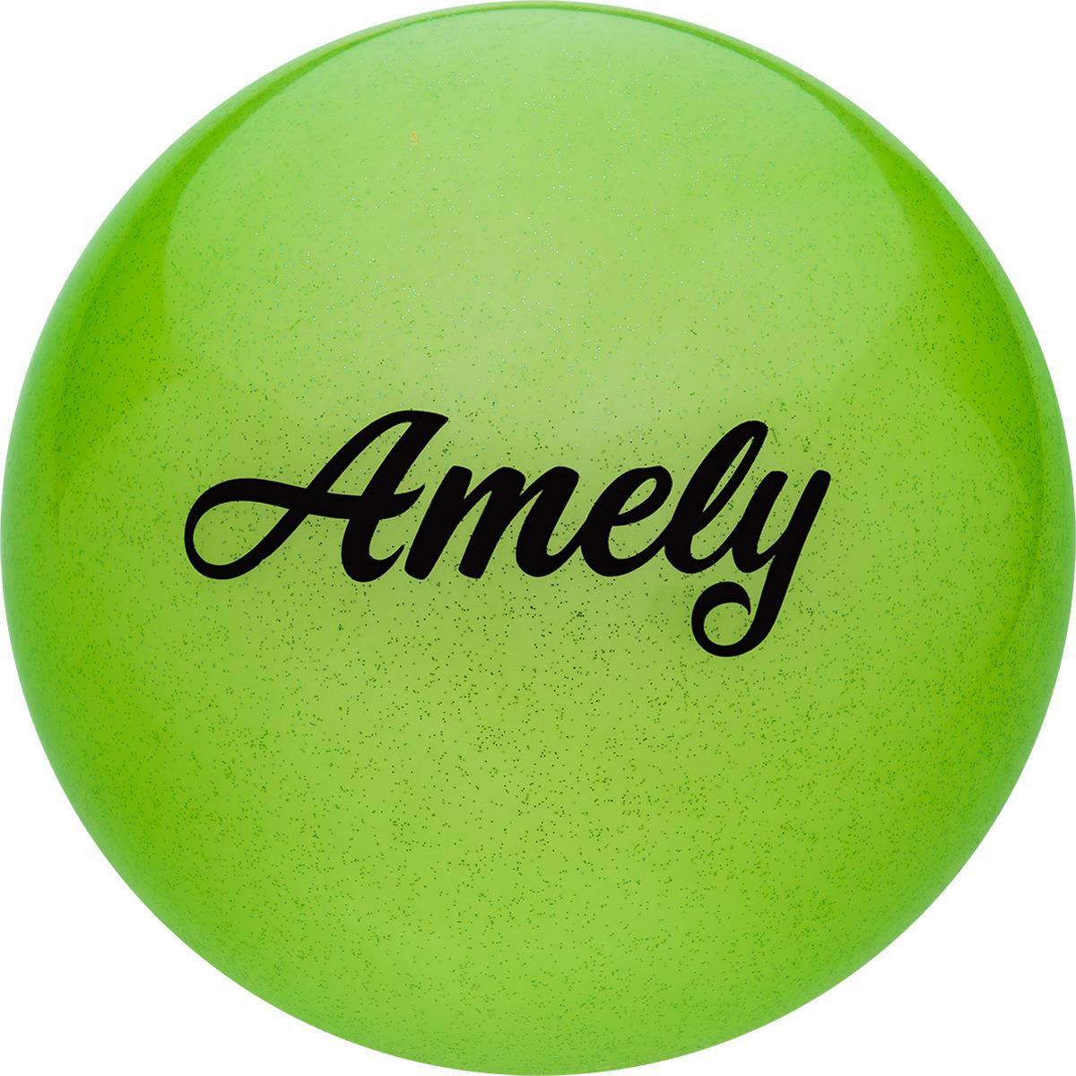 Мяч для художественной гимнастики Amely AGR-102, диаметр 19 см, цвет: зеленый с блестками цена